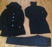 Пакетом пальто, джинсы, платье 42/44