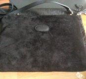 Замшевая новая сумка 35 дл. 25 высота черная натур