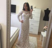 Платье белое новое с пайетками jovani