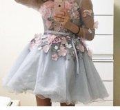 Платье коктейльное новое с цветами jovani