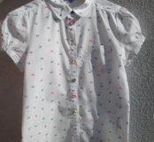 Новая белая рубашка в якорёк с цветными пуговицами