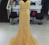 Платье новое золотое с бисером и цветами jovani