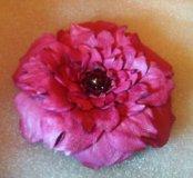 Брошь цветок (кожа, Handmade)