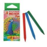 Карандаши восковые 6 цветов ZOO, шестигранные