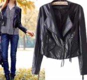 Укорочённая куртка чёрная кожа