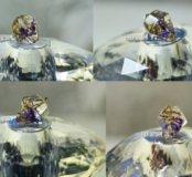Новая подвеска кристалл с фиолетовым цветком