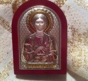 Икона Св.Пантеймон. Серебро. Золочение Новая