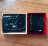Новый набор кожаный кошелёк + визитница