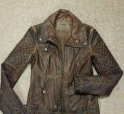 Кожаный ,утеплённый пиджак Зара