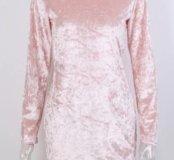 Новое бархатное платье розовое