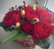 Цветы в коробке, Розы, цветы с конфетами
