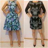 Платье голубое и чёрное с серебром