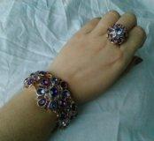 Набор бижутерии: колье,браслет,серьги,кольцо