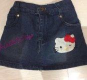 Джинсовая юбочка Hello Kitty