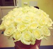 35 роз в розовой коробке