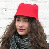 Шляпа-жокейка фетровая красная