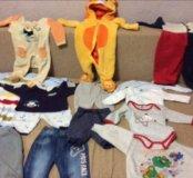 Много детской одежды с 0 до 8 мес