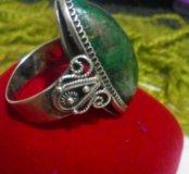 Перстень, серебро 875,малахит