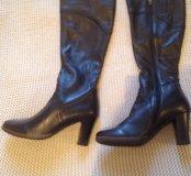 Новые кожаные демисезонные сапоги