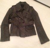 Кожаная куртка All Saints , серого цвета, XS