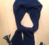 Шапка- капюшон с шарфом синяя