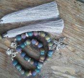 Комплект браслетов из агата с друзами кварца