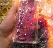 Чехол с блёстками на айфон 5,5s,5SE розовый