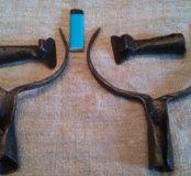 Старинные кованые ухваты и чапельники
