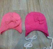 Две шапочки на девочку до 6ти мес