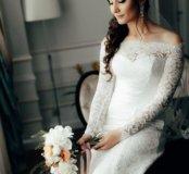 Шикарное свадебное платье силуэт годе р-р 44-46