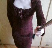 Платье коричневое для кормления грудью 40-42р.