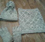 Набор вязаных шапочки, шарфика и перчаток