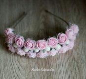 Ободок нежно розовый