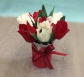 Подарок на 8 Марта, букет из конфет тюльпаны