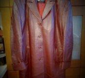 Плащ-пальто кожаное утепленное + подарок