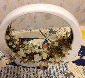 Декор из керамики со стеклянными цветочками