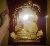 Корабль Парусник в раме под стеклом