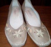 Летние туфли р38 женс.бежевые