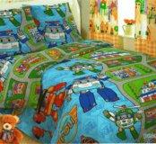 Поли робокар -1,5спальный комплект постельн.белья