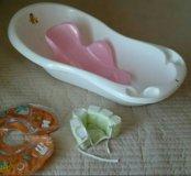 Круг для купания,  ванночка, горка и чепчик
