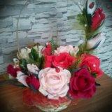 Корзина цветов из конфет