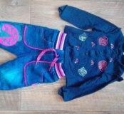 Кофточка и флисовые джинсы 68
