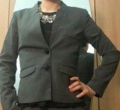 Пиджак H&M 40 размер темно-серый в мелкую клетку