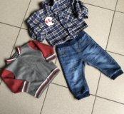 Комплект для мальчика:джинсы,рубашка,кофта вяз-я.