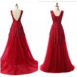 Винное вечернее платье со шлейфом
