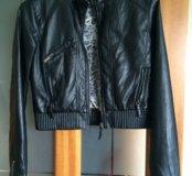 Кожаная куртка Zara TRF