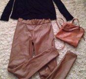 Леггинсы, блуза, сумка