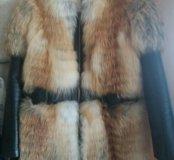 Курта лисья с вставками из натуральной кожи
