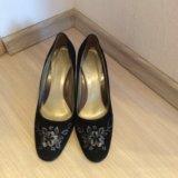 Туфли черные замшевые, размер 38