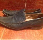 Кожаные мужские туфли цвет синий